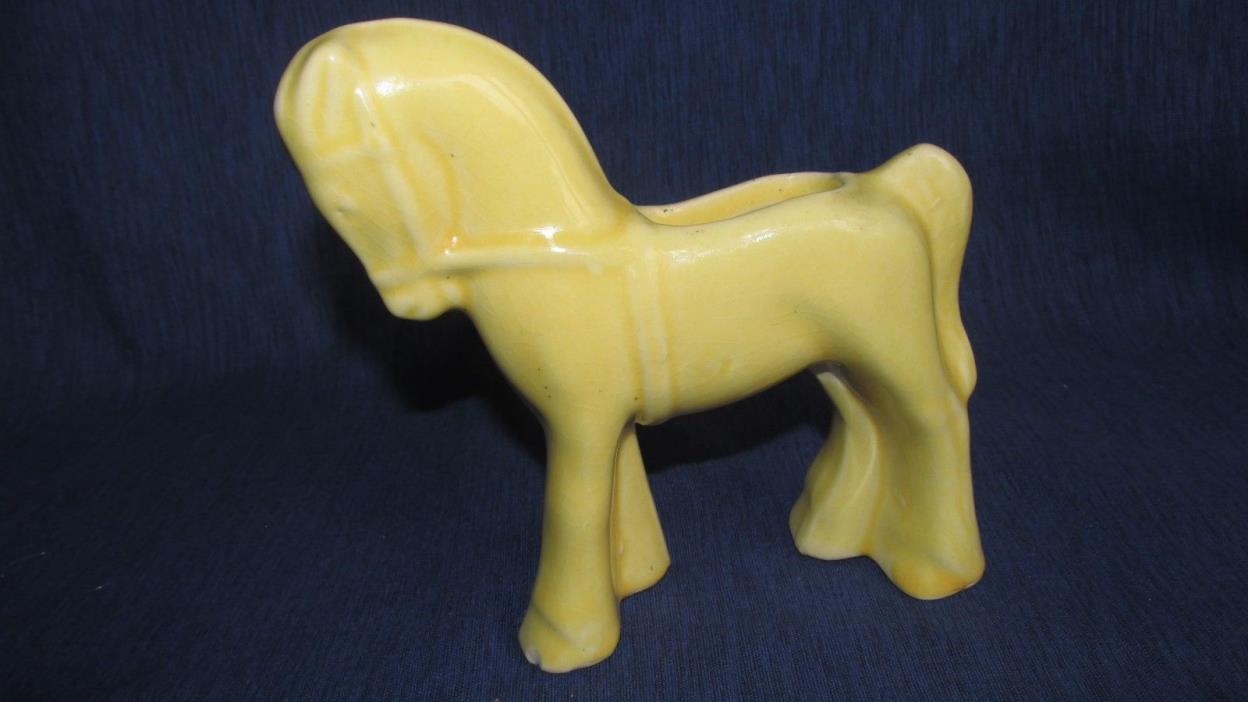 Vintage Shawnee Art Pottery Pastel Yellow  PONY Horse Vase PLANTER 1950's