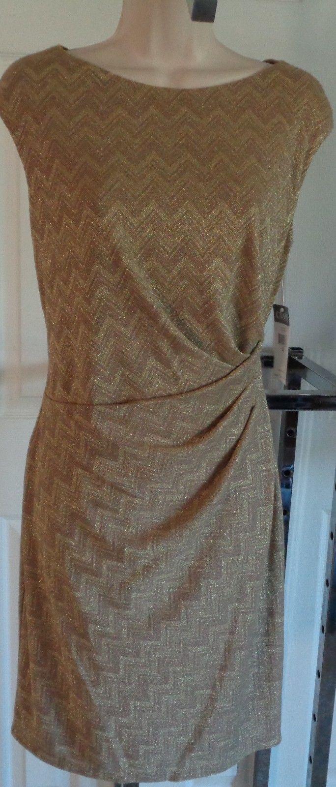 NEW Chaps sheath dress zig zag pattern metallic gold 12