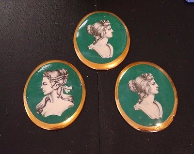 Vintage 3 Wall Hanging Victorian Ladies Porcelain Faces/Plaques/ gold