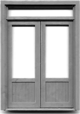DOUBLE DOOR W/WINDOW & TRANSOM 1/2