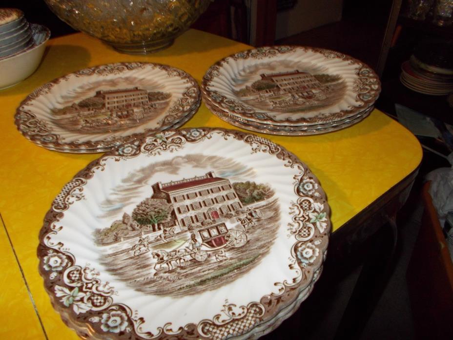 Heritage Hall Ironstone China Staffordshire England Set 8 Dinner Plates 9 3/4