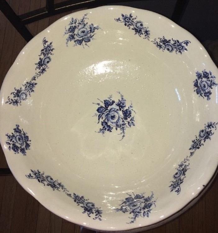 Antique white and blue flower floral semi vitreous wash basin Cottage Chic