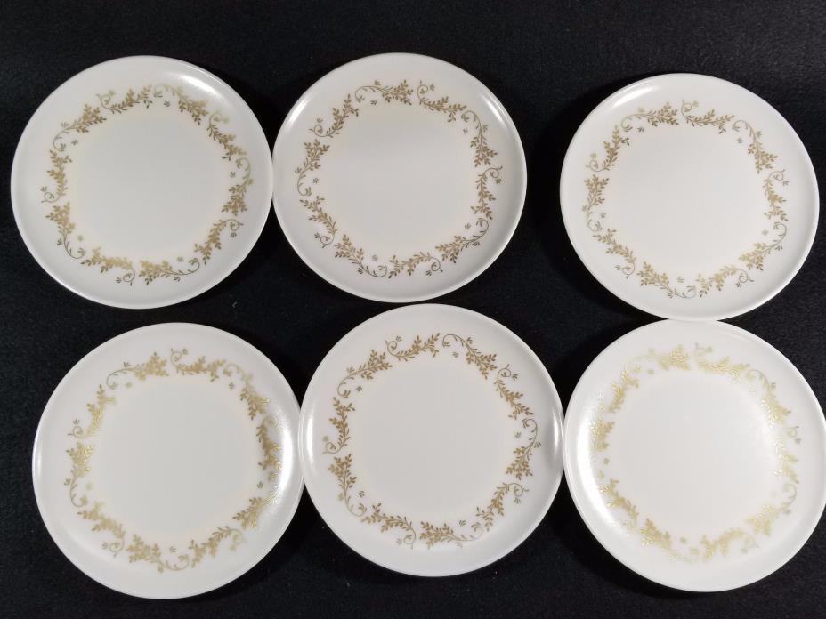 LENOX WARE Vintage Set Of 6 dessert Plates Melamine Gold Cream Flourish 1950's