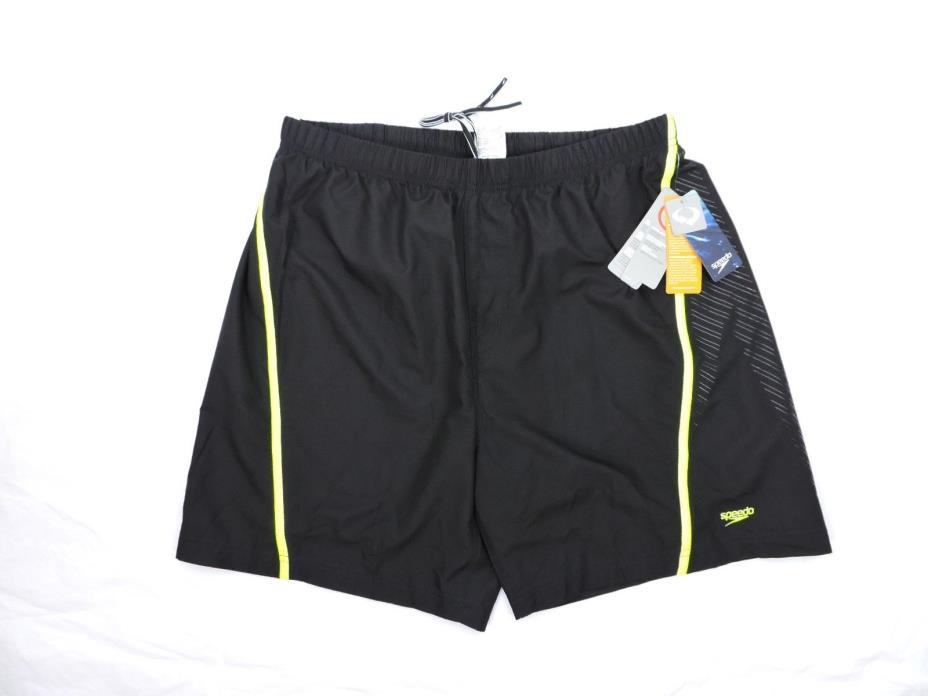 Speedo Mens Swim Trunks Size Large Compression Jammer Rip Stop Black Sports