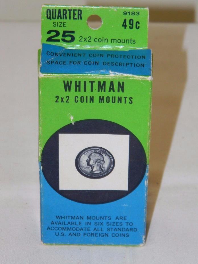 NOS VINTAGE Whitman Nickel/Quarter 2x2 Coin Mounts Cardboard 19 pieces