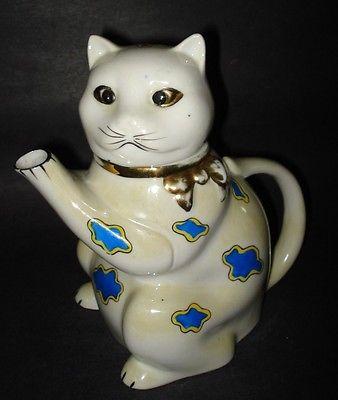 Vintage Antique ART DECO FIGURAL KITTEN CAT TEAPOT German Porcelain Ceramic