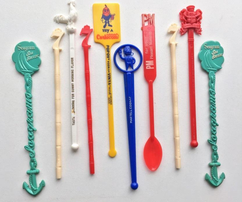 Vintage Swizzle Sticks Stirrers Lot LIQUEUR Seagrams Martell Popov PM Schenley