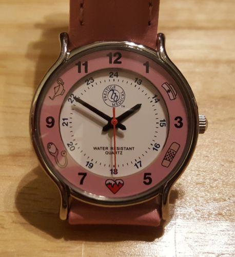 Pink Prestige Medical Nurse/ Medical Symbols Quartz Leather Women's Watch EUC!