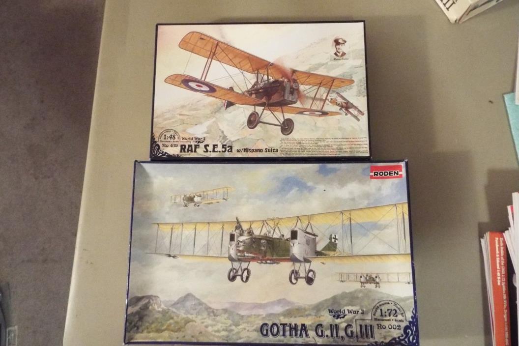 (2) RODEN WW I PLANES RAF SE5A 1/48 # RO419 + GOTHA G.II, GIII 1/72 # RO002