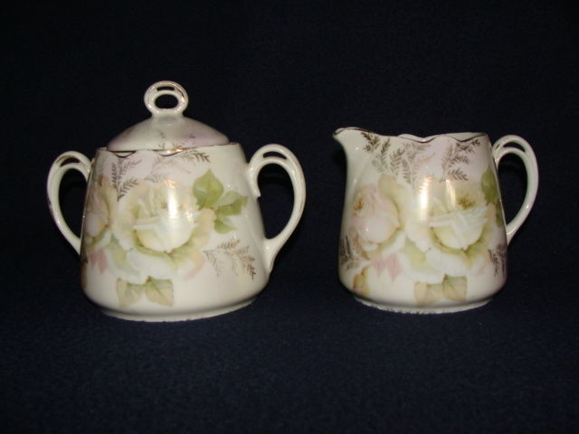 Leuchtenburg Germany Creamer & Sugar with Roses