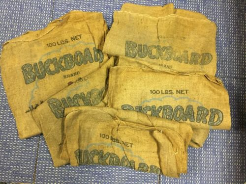 Lot Of 5 Buckboard Great Northern Beans Kansas City MO Gunny Burlap Bag Sack