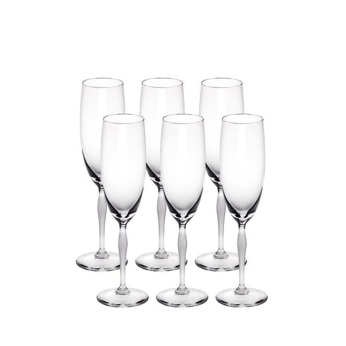 LALIQUE 100 POINTS CHAMPAGNE GLASS SET OF 6 BRAND NEW IN BOX #10331400