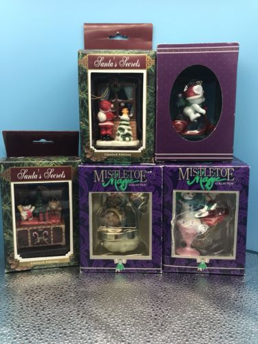 Lot 5 Mistletoe Magic Christmas Ornaments Snowman,Santa And Mouse Decorations