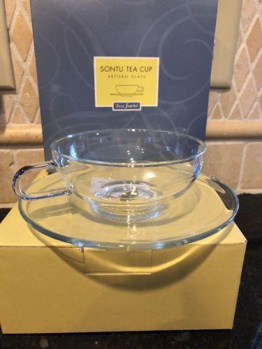 Sontu Tea Cup Artisan Glass Tea forte new is box!