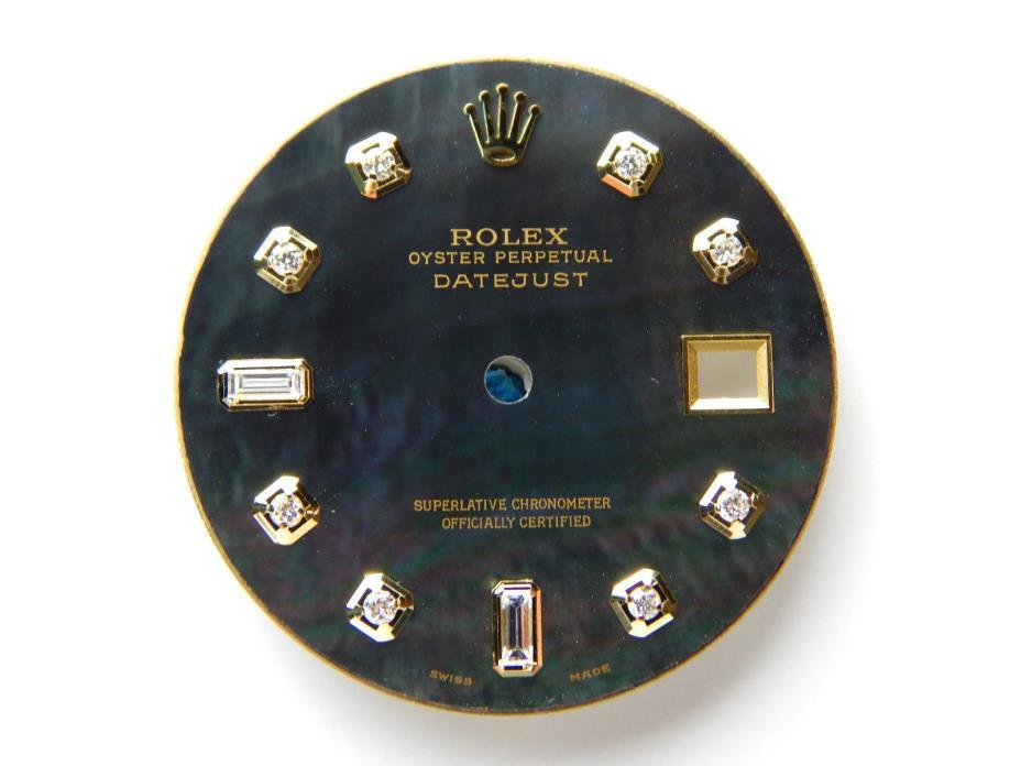 Men's Rolex Datejust 2Tone Non-Quickset Pie Pan 1601 Black MOP with 8+2 Diamond