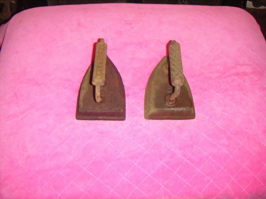 2 Antique Clothes Flat Hot irons by Sheffield.