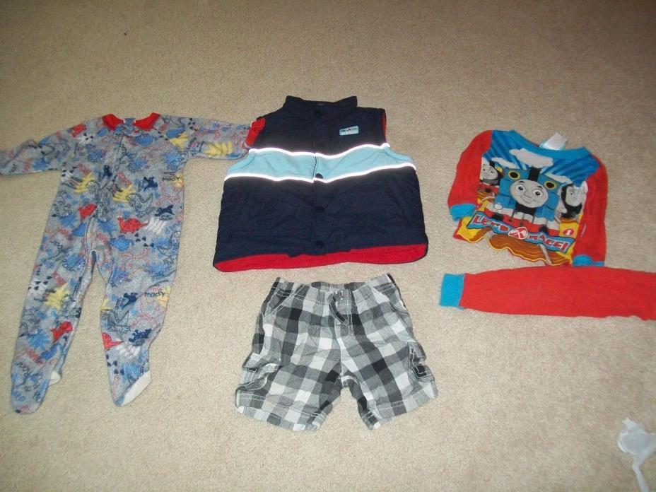 Genuine Kids Oshkosh Boy Size 18 Months Puffer Vest Outerwear + Thomas Pjs LOT