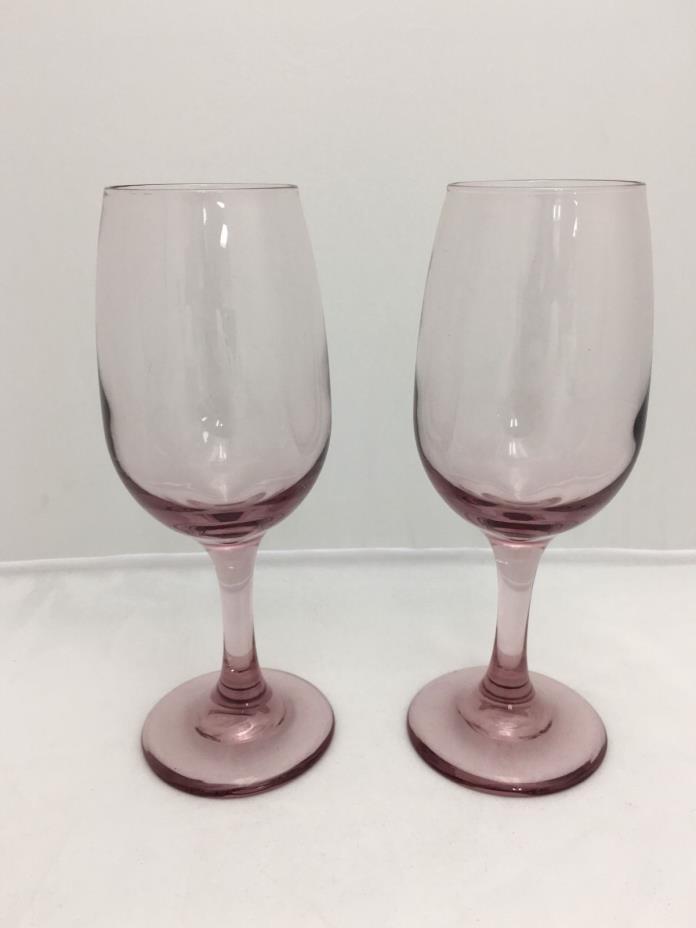Lot of 2 Mulberry Purple? Stem Stemware Wine Glass Glasses