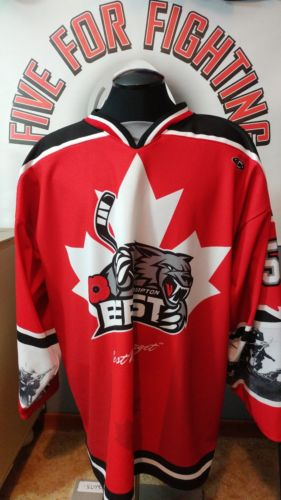 Game Worn Brampton Beast goalie Rembrance Day jersey Canadiens ECHL