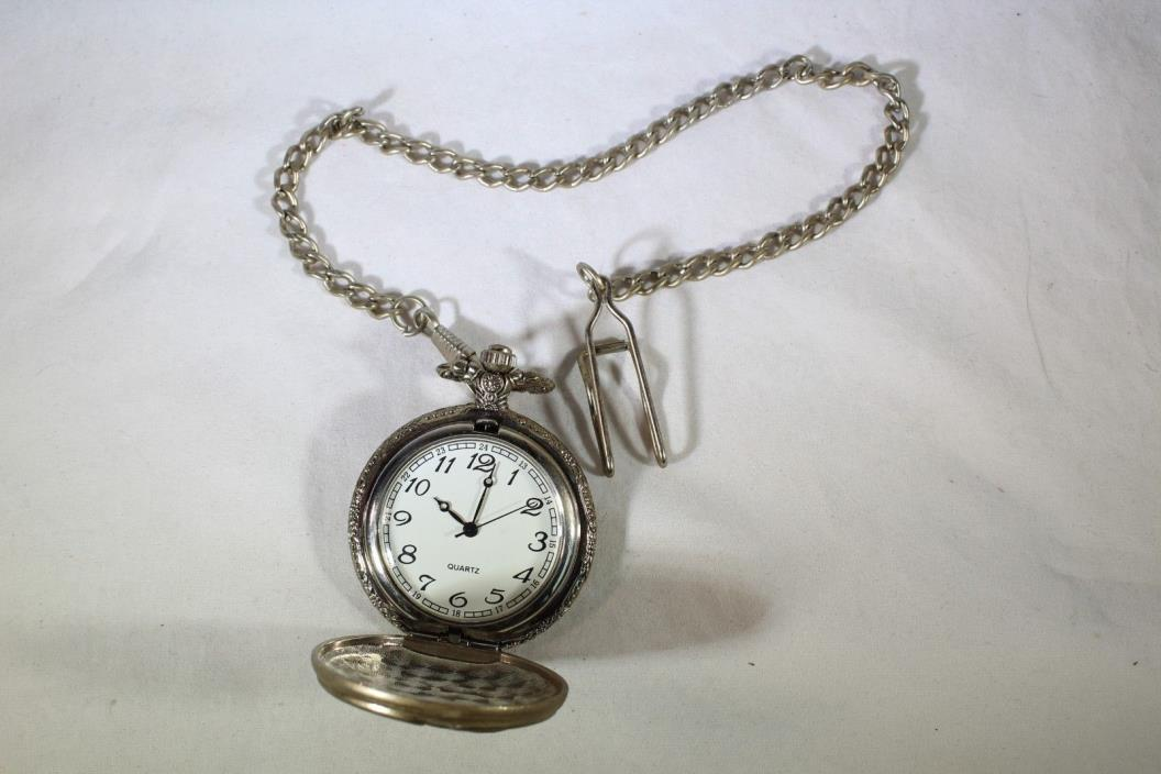 Silver tone Etched Eagle Pocket Watch Men's Nice Working