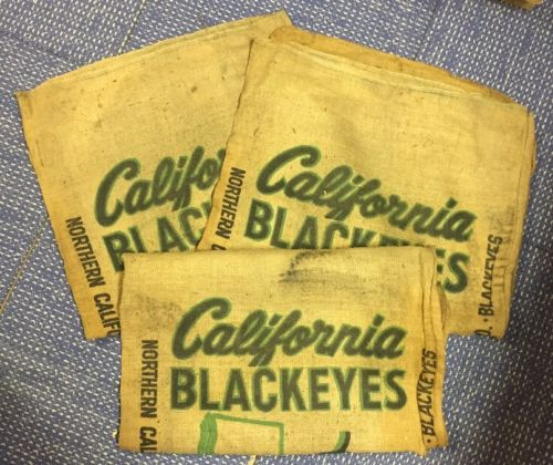 Lot Of 3 California Blackeyes Northern CA Kerman Gunny Sack Burlap Bag