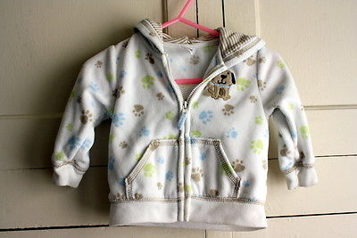 Infant Boys Size 6 M Multi-Colored Dog prints Hooded Doggy Sweater Jacket