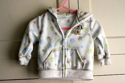 Infant Boys Size 6 M Multi-Colored Dog prints Hooded Doggy Sweater Jacket