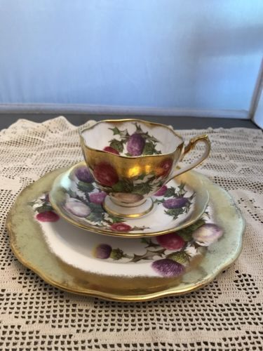 QUEEN ANNE TEA CUP AND SAUCER PAINTED THISTLE THICK GOLD PATTERN TEACUP TRIO