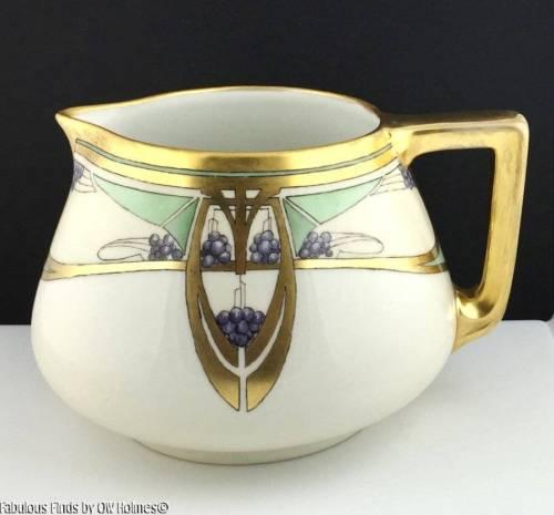 Antique Art Nouveau B&C Limoges Porcelain CIDER Wine Lemonade Pitcher GRAPES