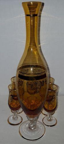 Murano Glass Decanter Set Amber Honey Gold Twist Stem 5 glasses VTG