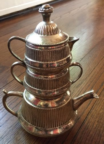 India Stacked Silver Plate Teapot, Creamer, Sugar Heavy