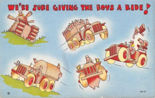 WACS WWII Military Comic~Womens Army Corp~We're Giving the Boys A Ride~Jeep~1943