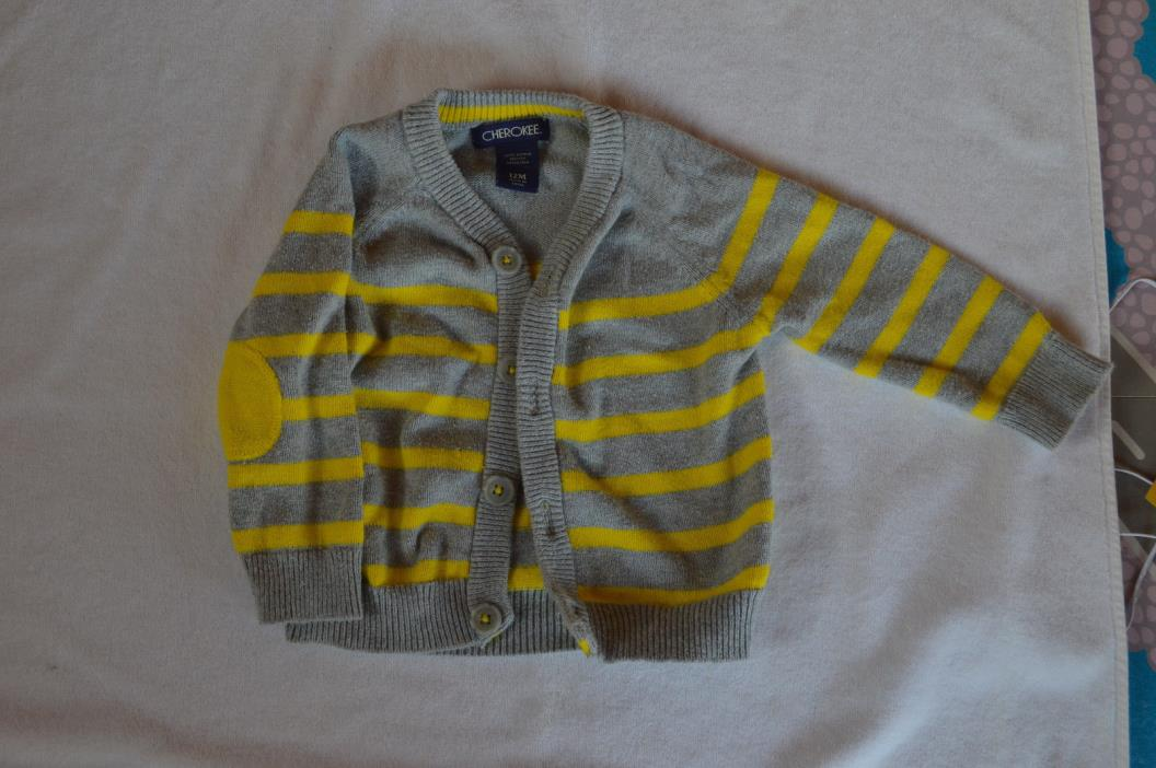 Cherokee Baby12 months Grey and Neon Yellow striped Cardigan Sweater