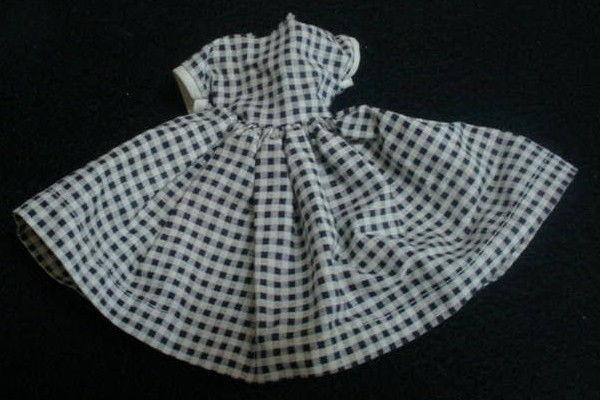 Vintage 1960 Vogue JILL Doll dress #3113 Shopping in Black White Checker Gingham