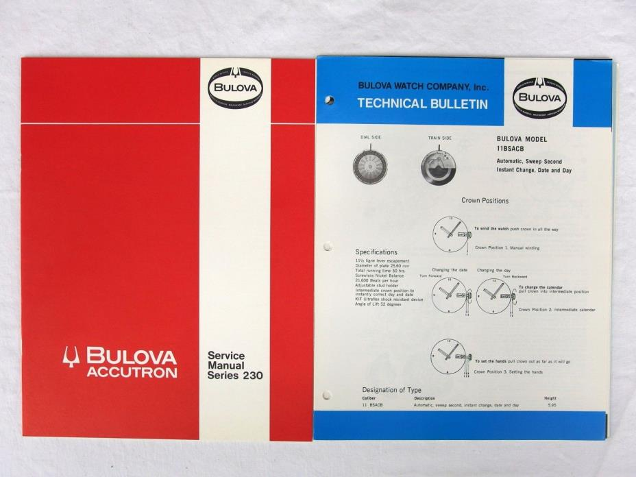 Bulova Accutron Service Manual Series 230 and Technical Bulletin Unbound