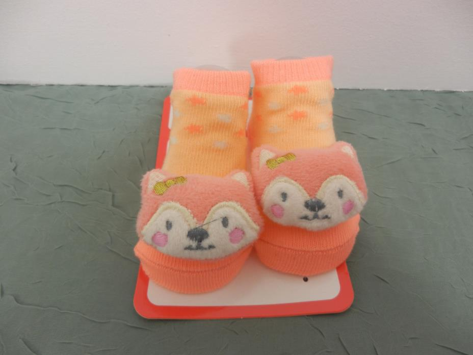 Kidgets 3D Animal Socks Baby Booties Peach Fox-Stars  0-12 Months-1pr -REF#S131