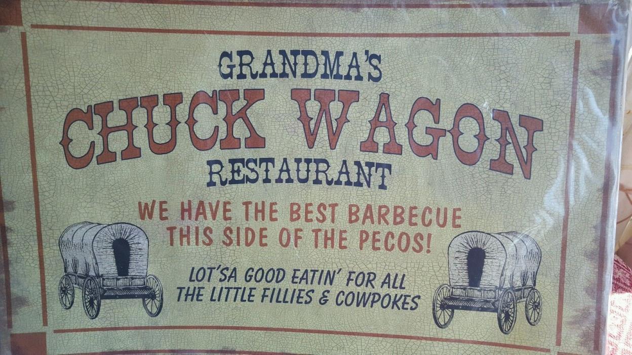 Metal Grandma's Chuck Wagon Restaurant Fillies & Cowpokes Barbeque Sign 24