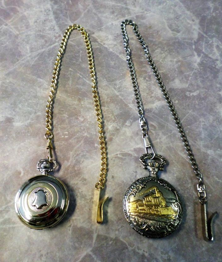 Lot Vintage Pocket Watch Two Tone Train Watch-It Japan Lindenworld Jewelers