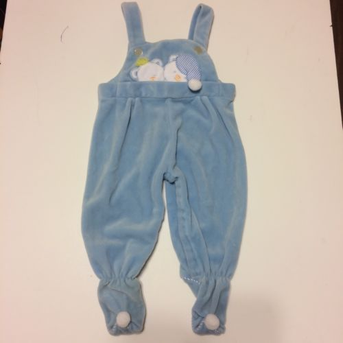 a tiny tots original vintage velour sleepy bears footed overalls 6-9 months blue