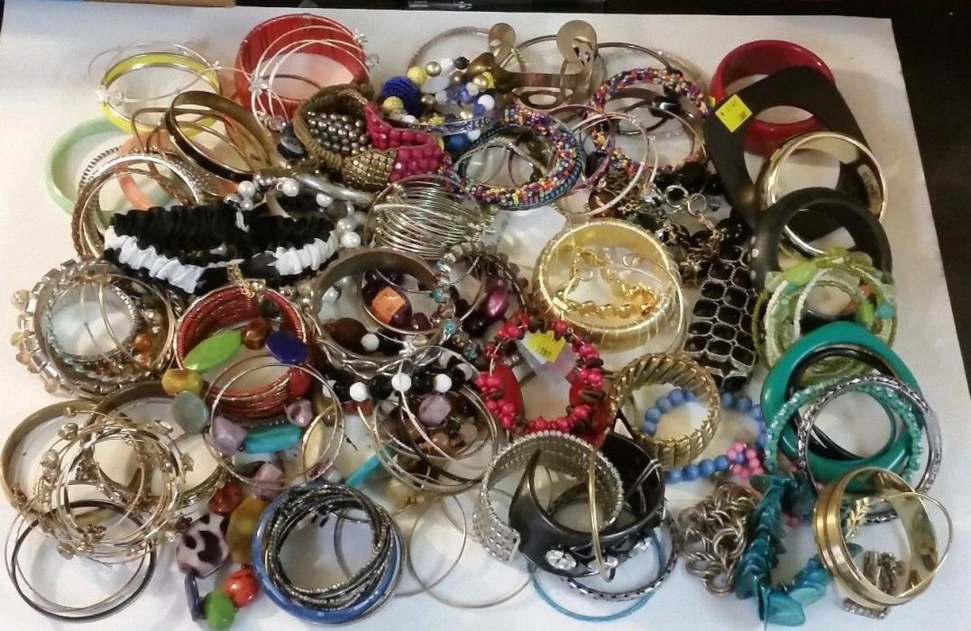5LBS HUGE Lot Assorted Bracelet Vintage Fashion Costume Jewelry Craft Junk 2
