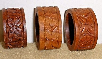 Three Vintage Carved Wooden Napkin Rings - OD 1 7/8