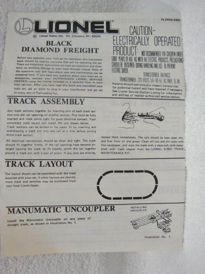 Lionel Black Diamond Train Set Instructions