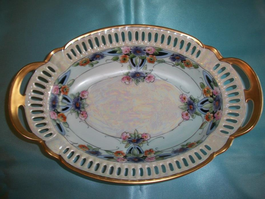 PA Arzberg Bavaria Hand Painted Reticulated Oval Bowl Blue Floral Luster 12
