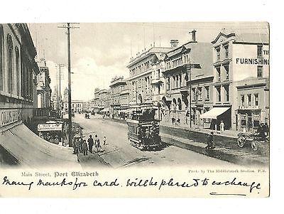 Old post card postcard Main Street Port Elizabeth street car signs etc.