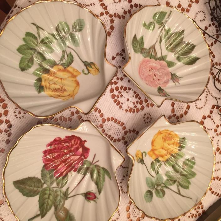 Set of 4 Porcelaine de Paris France Clam Dishes Condiments Trinket Dish Roses