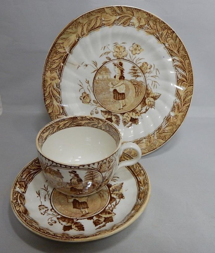 3 pc Staffordshire Transferware MAY Girl & Dog Childs Tea Cup & Saucer Luster