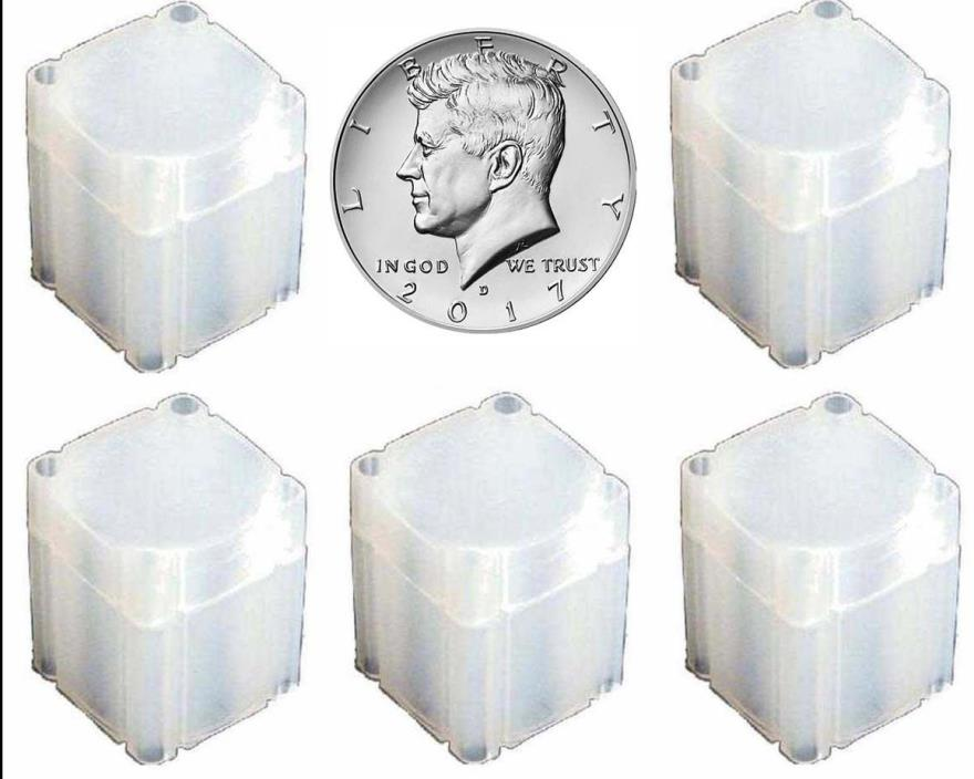 5 Pack Square Tubes, Half Dollar Size Franklin, Kennedy, etc. CP1005