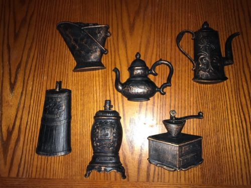 6 VINTAGE Dart 3D Wall Decor Brown & Copper Plastic Kitchen Coffee Tea Stove USA