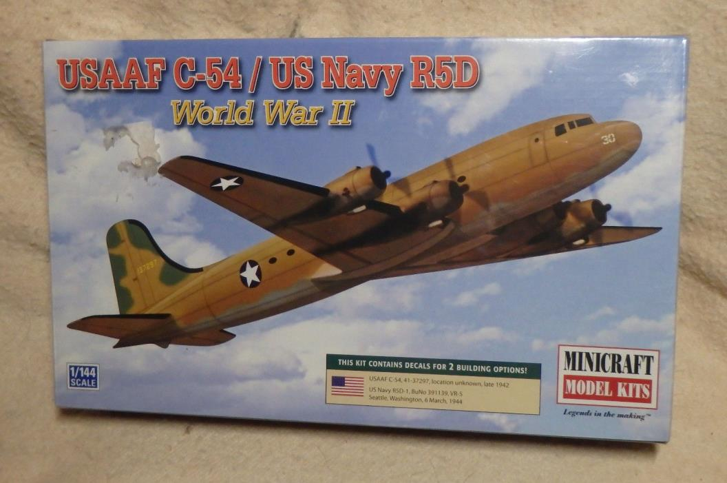 Minicraft 1:144 USAAF C-54/US Navy R5D Model - Unbuilt!! - 2012 - Sealed!!