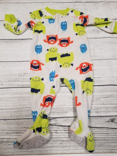 Child Of Mine baby boy 12 months fleece monster zip up footie pajamas